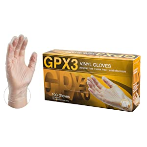 X3 Clear Vinyl Industrial Gloves, Box of 100, 3 Mil, Size Large, Latex Free, Powder Free, Food Safe, Disposable, Food Safe, GPX346100-BX