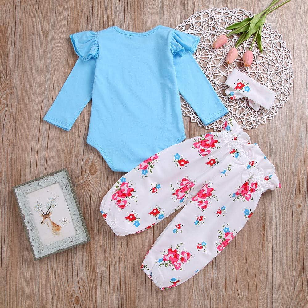 Robemon Toddler B/éb/é Filles Manches Longues Barboteuse Tops+Floral Pantalons+Bandeaus Ensembles de Fille Outfits
