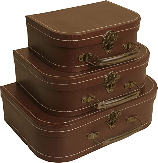Wald Imports Brown Paperboard Decorative Storage Paperboard Suitcases, Set  of 9