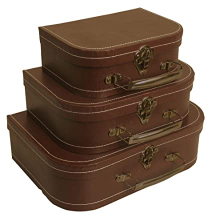 Ordinaire Wald Imports Brown Paperboard Decorative Storage Paperboard Suitcases, Set  Of 3