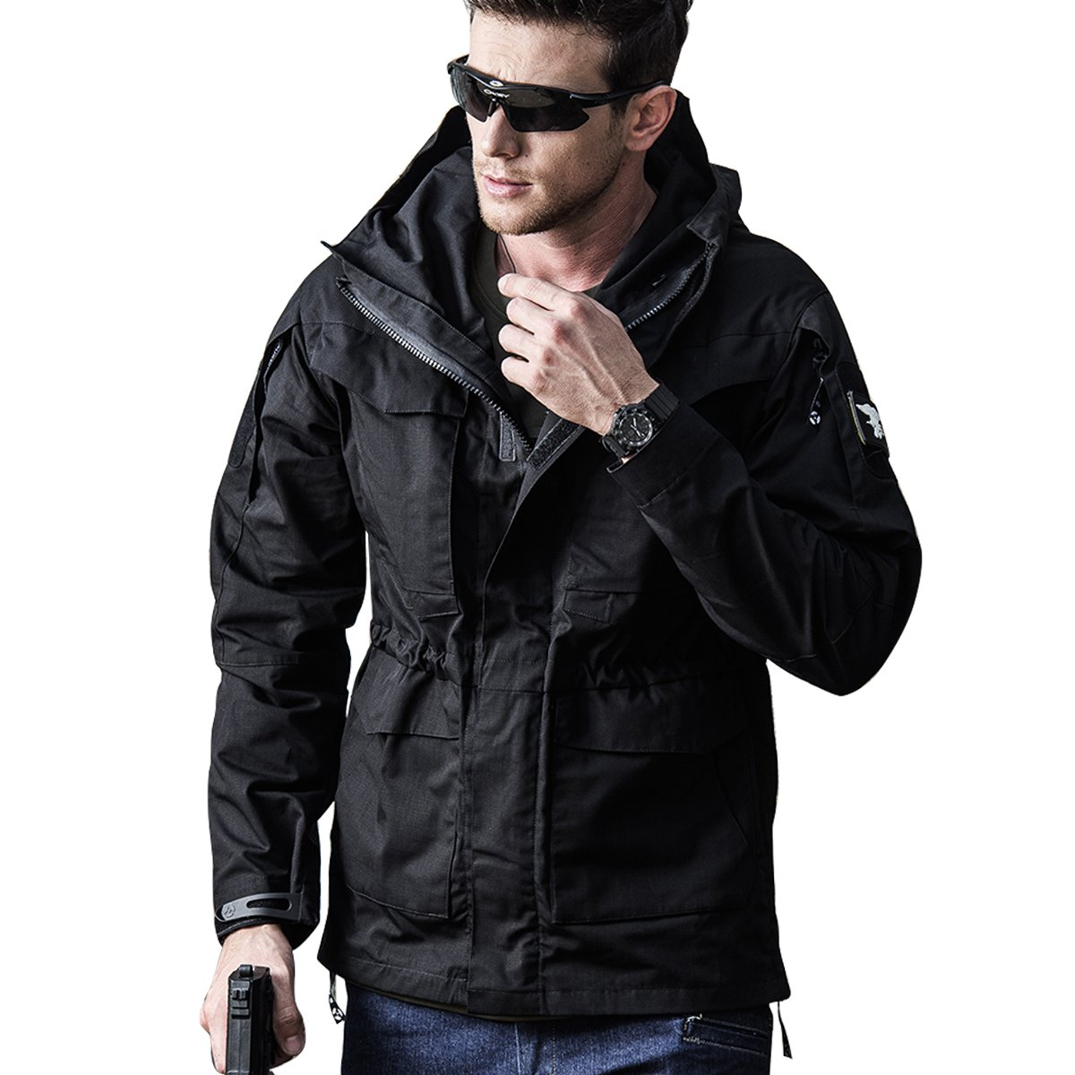 Men Outdoor Jacket Casual Tactical Waterproof Army Military Windbreaker Spring Rain Coat (L, Black)