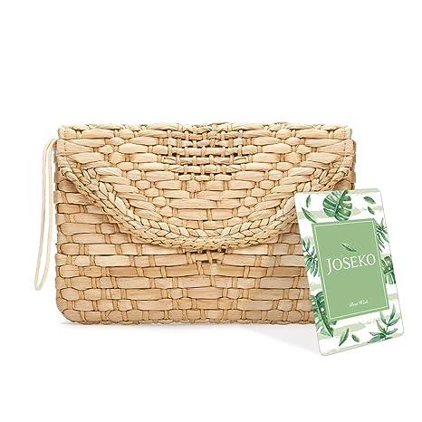 Monedero de embrague de paja, JOSEKO Bolso del sobre del bolso del embrague del mitón de las mujeres Bolso grande de la playa del verano de la cartera