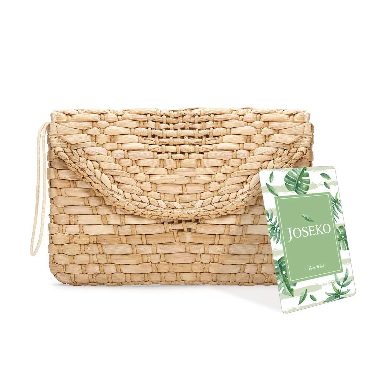 46abd0535fcdd Straw Clutch Purse, JOSEKO Women Wristlet Clutch Handbag Envelope Bag Large  Wallet Summer Beach Bag