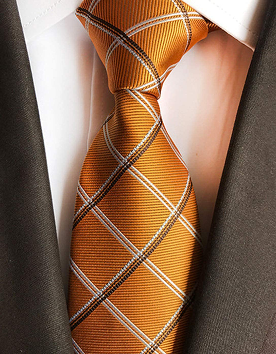MENDENG Mens Orange Gold Plaid Formal Necktie Clip Pocket Square Cufflinks Set