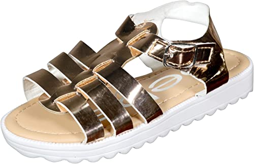 Girls Pretty Touch Strap Metallic Silver Gladiator Sandal Infant Sizes UK 6-12
