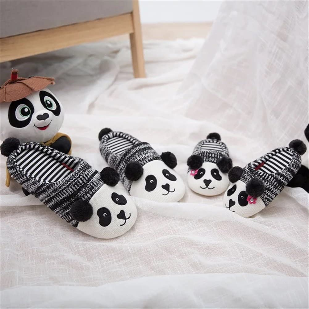 Yiwant Slippers Comfort Panda Cotton Washable Flat Closed Toe Indoor Shoes with Non-Slip Sole For Family