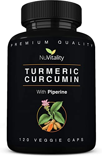 Turmeric Curcumin with Piperine Black Pepper Extract – 120 Veggie Capsules – Premium Quality with 95 Standardized Curcuminoids – Best Absorption Potency – Pain Relief Joint Support Supplement