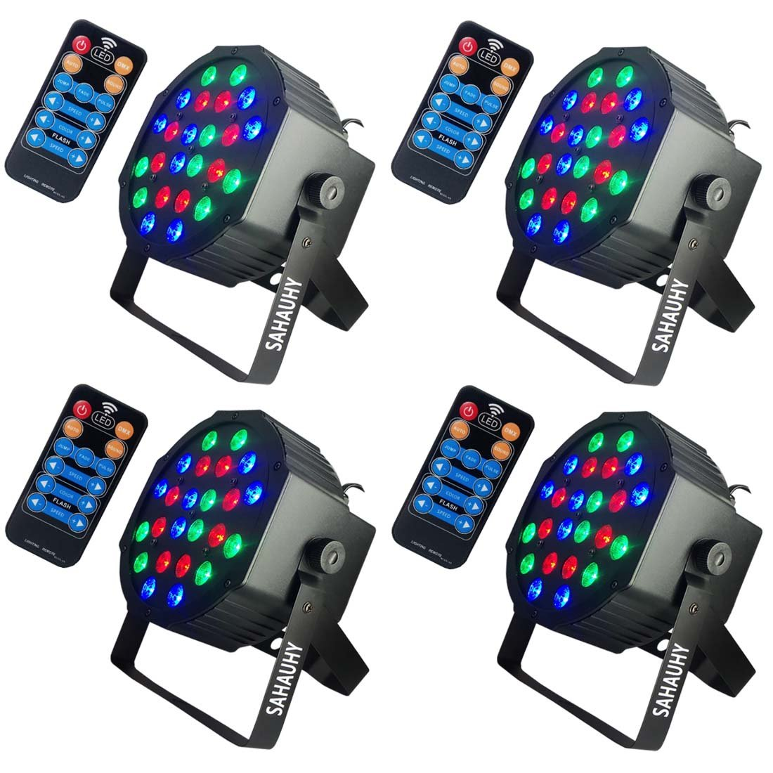 Stage Light,SAHAUHY Bright 24LEDs RGBW Par Lights by Remote or DMX Control for Wedding Christmas party bar(24 Leds Stage lights) by SAHAUHY