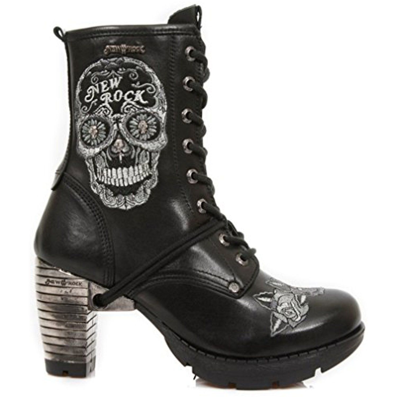 New Rock M.TR048 S1 Ladies White Sugar Skull Embroidery Leather Trail Boots
