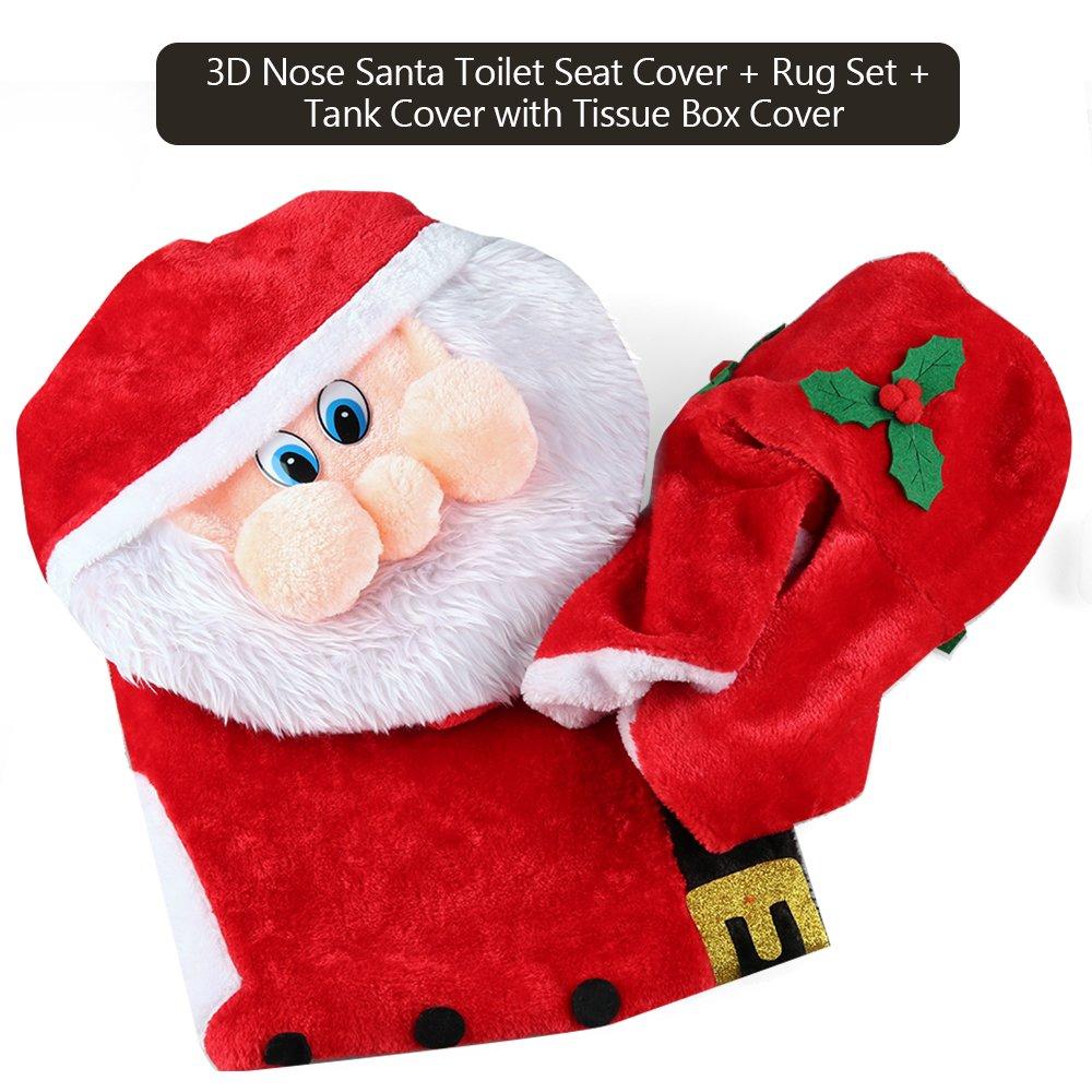 Amazon D FantiX 3D Nose Santa Toilet Seat Cover Set Red Christmas Decorations Bathroom Of 3 Home Kitchen