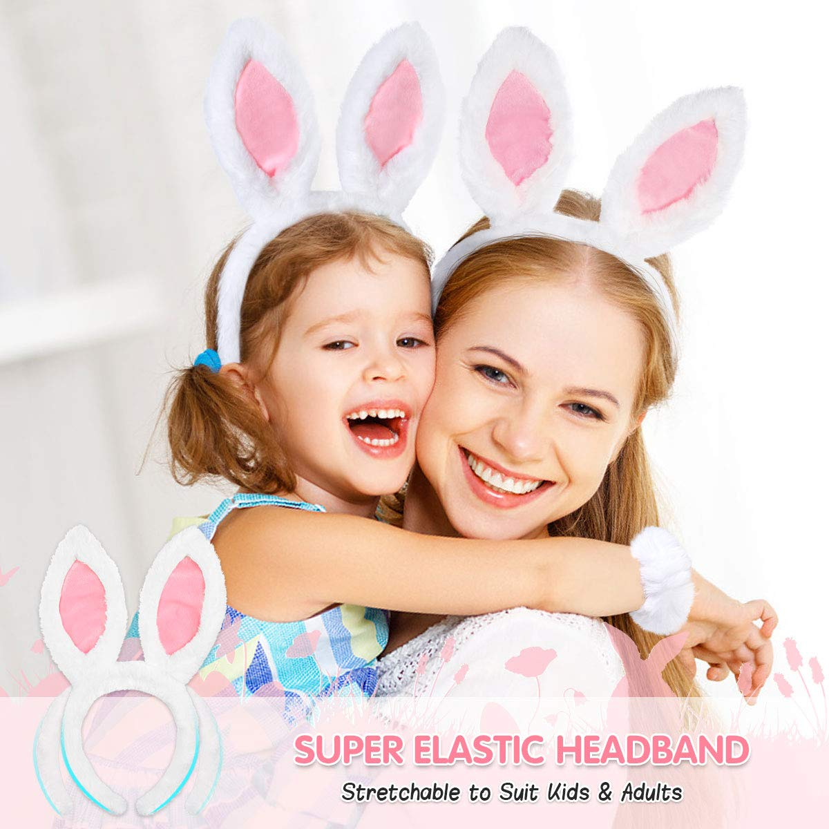 Bunny Ears Headband for Halloween Easter Rabbit Costumes with Headband Bow Tie Bracelet and Tail Set (5PCS, Pink)