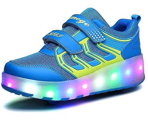 Baskets Enfants LED Chaussures Lumineuse À Roulettes Garçons Filles Sneakers Avec Roues Automatique De Patinage Chaussures Deux Roue 0EPSuMxWdX