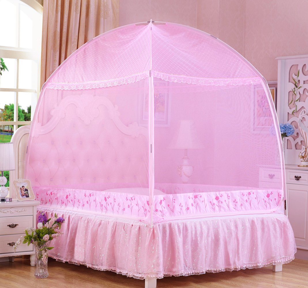 RuiHome 3-Doors Opening Mosquito Netting Tent Bed Canopy for Teen Kids Girls Room (47''x79''x67'', Pink)