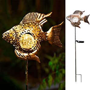Solar Garden Decoration Outdoor Lights, Metal Fish Stakes LED Lights for Patio, Garden, Yard, Walkway (Bronze)