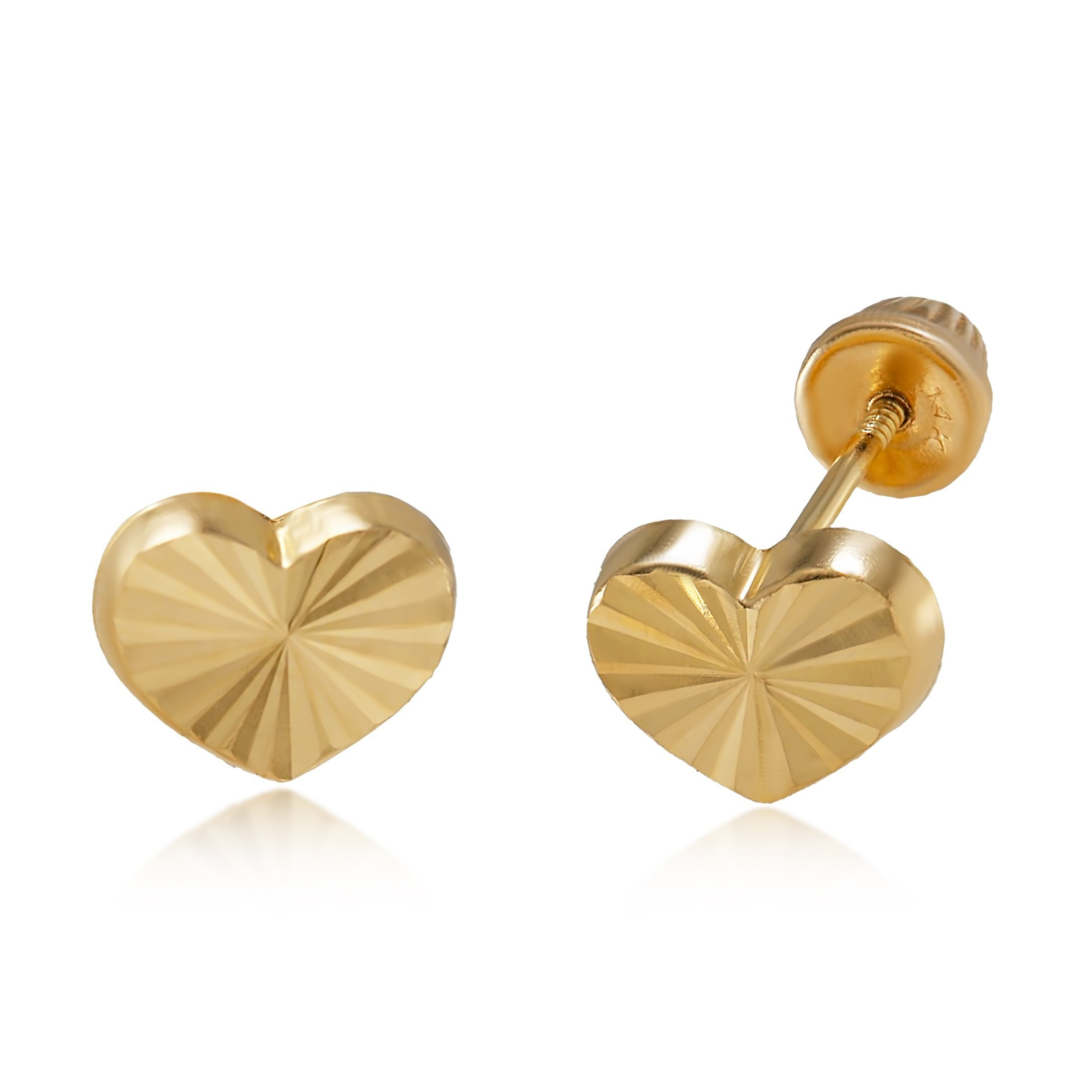 14K Yellow Gold Diamond Cut Heart Stud Earrings for Women & Girls - Hypoallergenic for Sensitive Ears