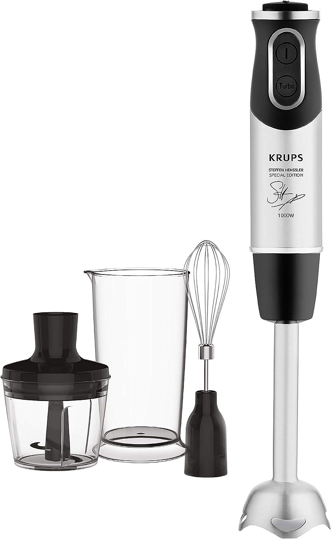 Krups HZ656815 Steffen Henssler Special Edition - Batidora de mano (1000 W, velocidad de 20 velocidades, incluye vaso medidor, batidor y picador), color negro y plateado