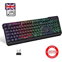 ⭐️KLIM™ Chroma Wireless Gaming Keyboard - [ QWERTY UK LAYOUT ] - Wired Backlit LED Rainbow Lighting - Slim, Durable, Ergonomic, Quiet, Waterproof, Silent Keys - RGB Laptop PC Gamer PS4 Mac - Black