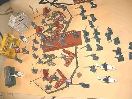 Amazon.com: 72 pieza Guerra Civil plástico Army Men Play Set ...