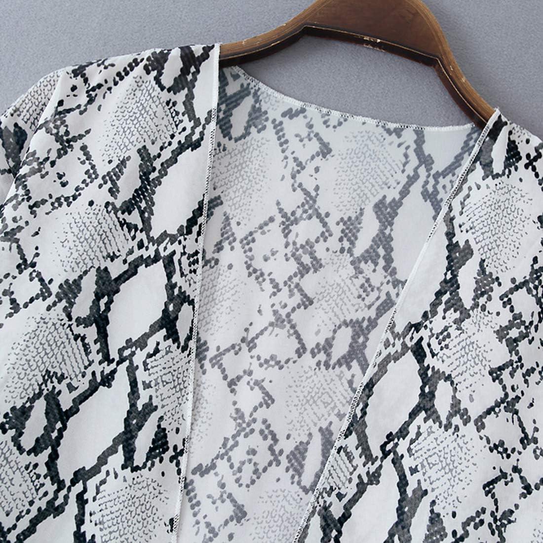 SHEKINI Kimono Cardigan di Chiffon Donna Estivo Elegante Casual Copricostume de Mare per Bikini Cover-Up Stampato Costume da Bagno Copribikini Allentato Beachwear