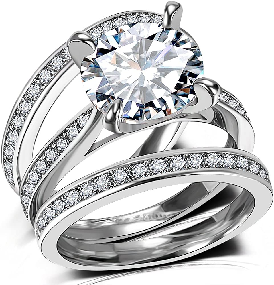 Women/'s White Gold Clear Cubic Zirconia Ring Set Wedding Engagement Jewelry Gift