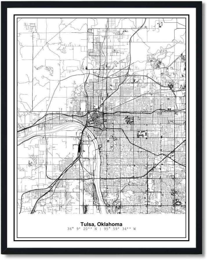 Susie Arts 11X14 Unframed Tulsa Oklahoma Metropolitan City View Abstract Street Map Art Print Poster Wall Decor V302