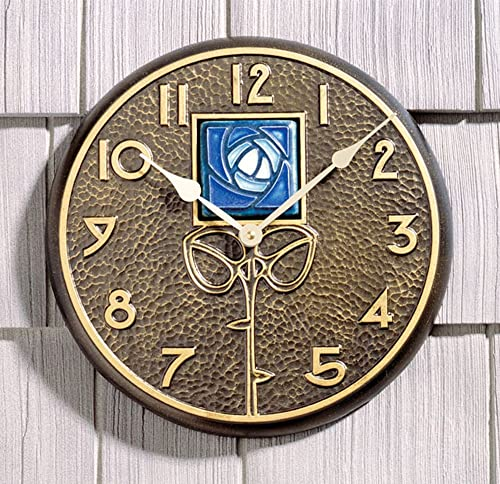 Whitehall Products Blue Dard Hunter Rose Clock, French Bronze