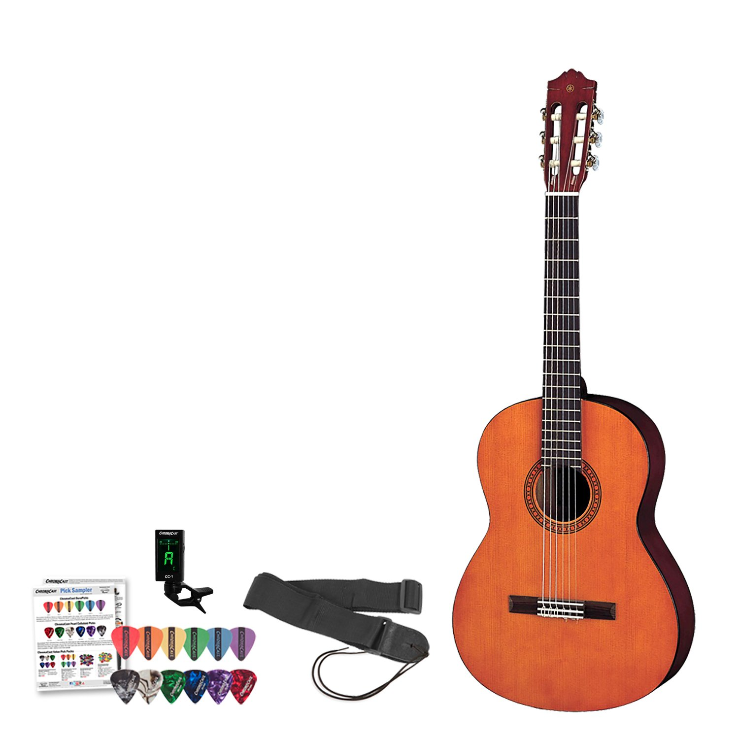 Yamaha CGS102A 1/2 Size Classical Guitar Kit - Includes: Tuner, Instructional DVD, Strap & ChromaCast Pick Sampler