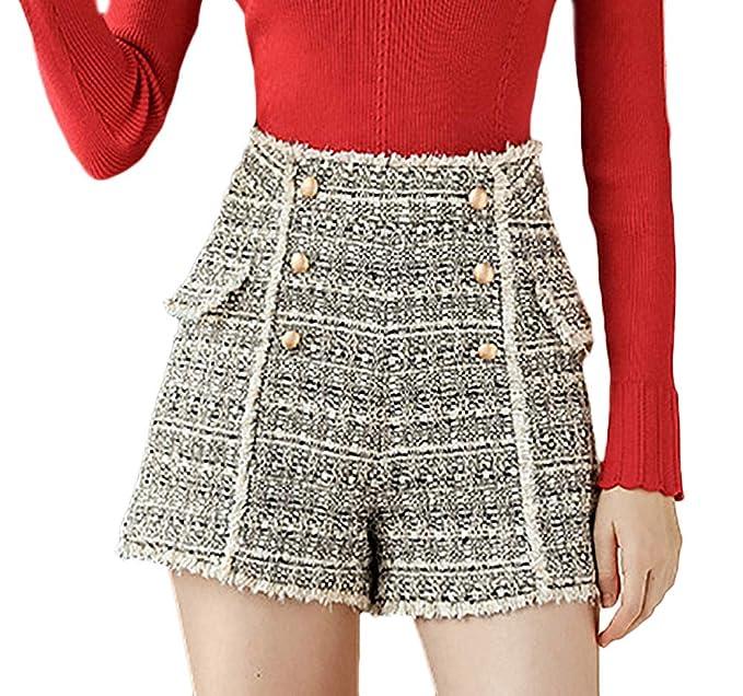 42d9a9f4e28140 Donna Corto Pantaloni Autunno Invernali Vintage Tempo Libero High Waist  Abbigliamento Pantaloncini Eleganti Fashion Convenzionale Double