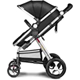 Besrey Newborn Baby Stroller for Infant Folding Convertible Baby Carriage Luxury High View Anti-shock Infant Pram Stroller with Cup Holder durable Wheels (Black)