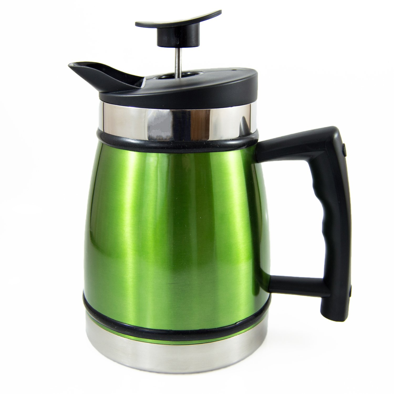 French Press Tabletop Coffee and Tea Maker with Bru Stop Technology - 32 oz - Stainless Steel - Green Tea