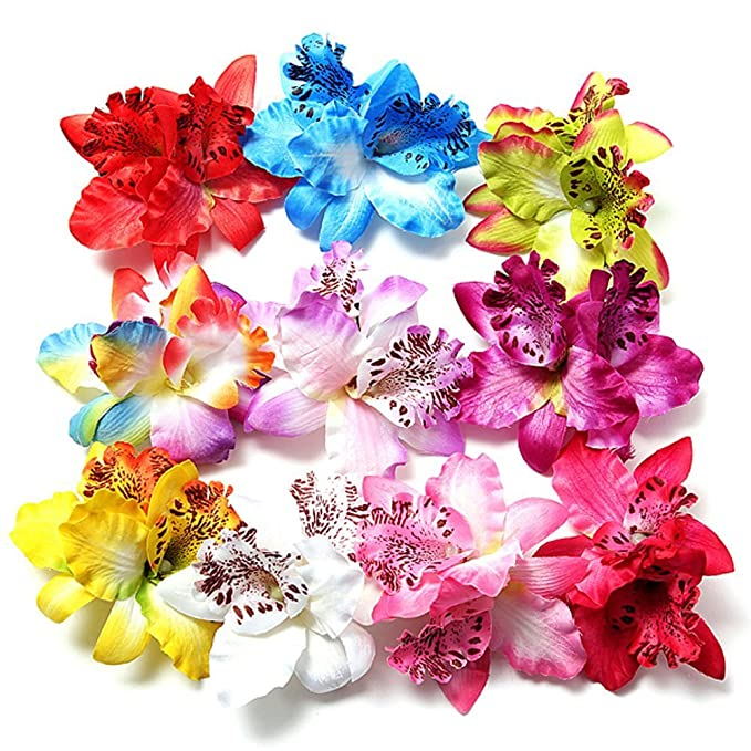 1940s Hairstyles- History of Women's Hairstyles 10 Pcs Multicolor Women Girls Orchid Flower Leopard Hair Clip Wedding Party Beach Bridal Hairclip Hair Pins Hair Barrette Accessories $8.99 AT vintagedancer.com