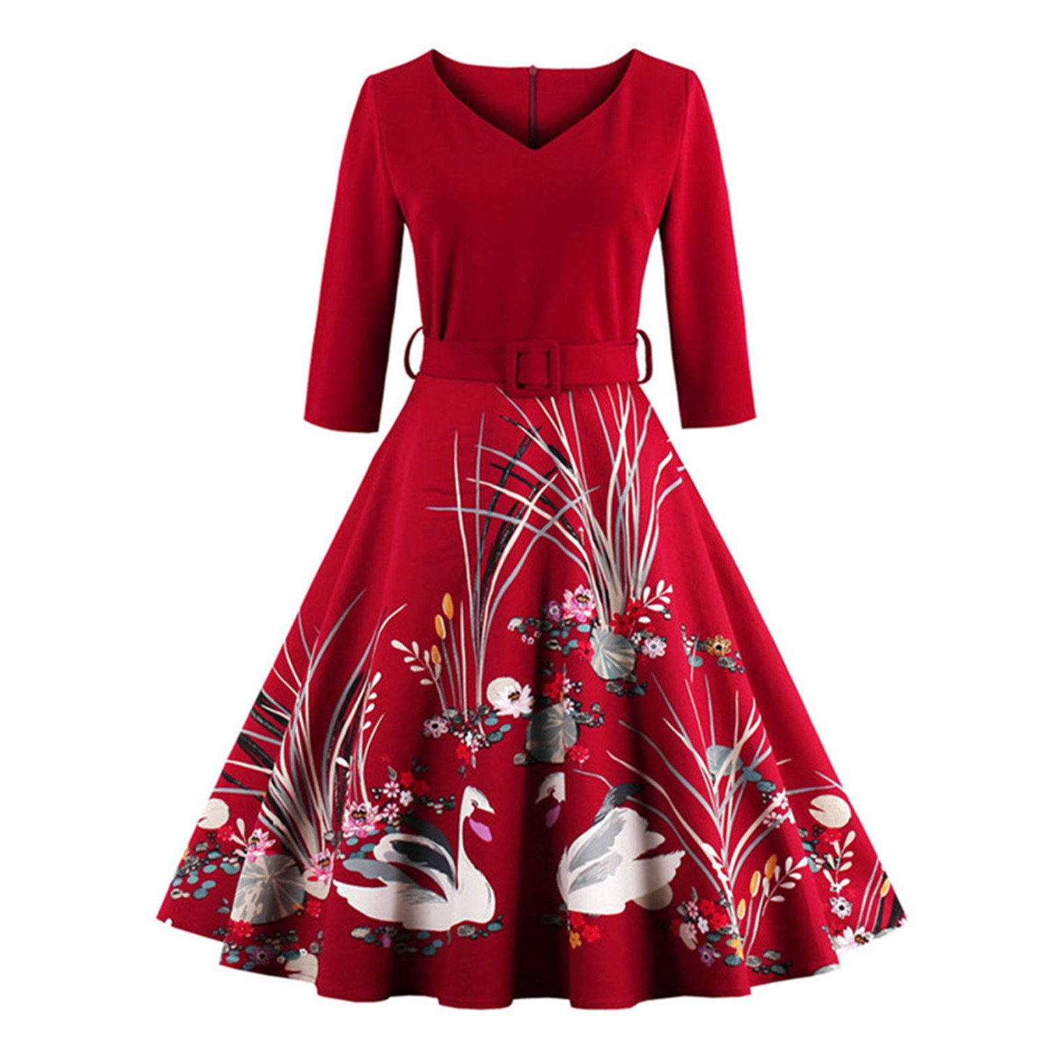 WINNER Vestidos Vintage Autumn dress Rockabilly 4XL plus size women clothing party dress Printed 60s Hepburn Casual Dress at Amazon Womens Clothing store: