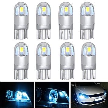AREOUT 8 Pack T10 LED coche luz bombillas W5 W 3030 2SMD 168 194 Auto Lámparas luces de interior (blanco: Amazon.es: Coche y moto
