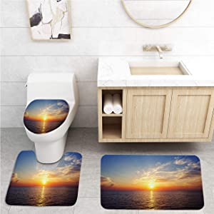 Sunset Bathroom Rug Set,Non-Slip Bath Rugs,Toilet Pad 3-Pack,Sunset Sun Afterglow Morgenrot Sky Water Sea Ocean Mirroring Romance,Home Rugs Soft Washable Floor Rug for Tub Shower,18x30 in