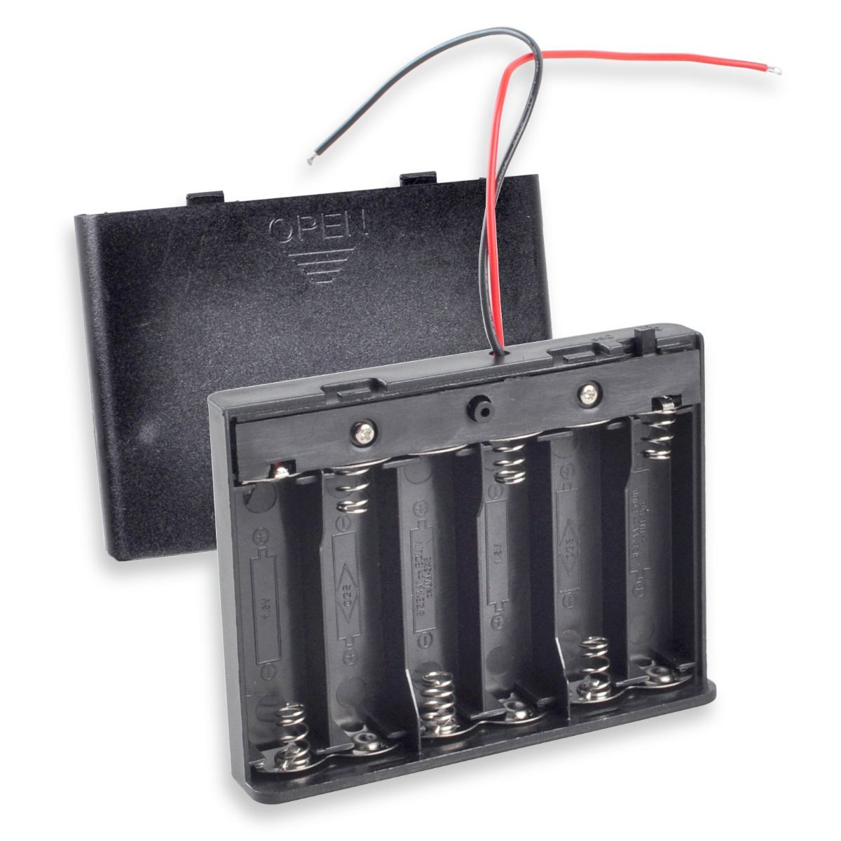 """AA Battery Holder with Switch, Besmelody 6 x 1.5V (9V) AA Battery Storage Box Case with Cover and 6"""" Bare Wire Leads"""