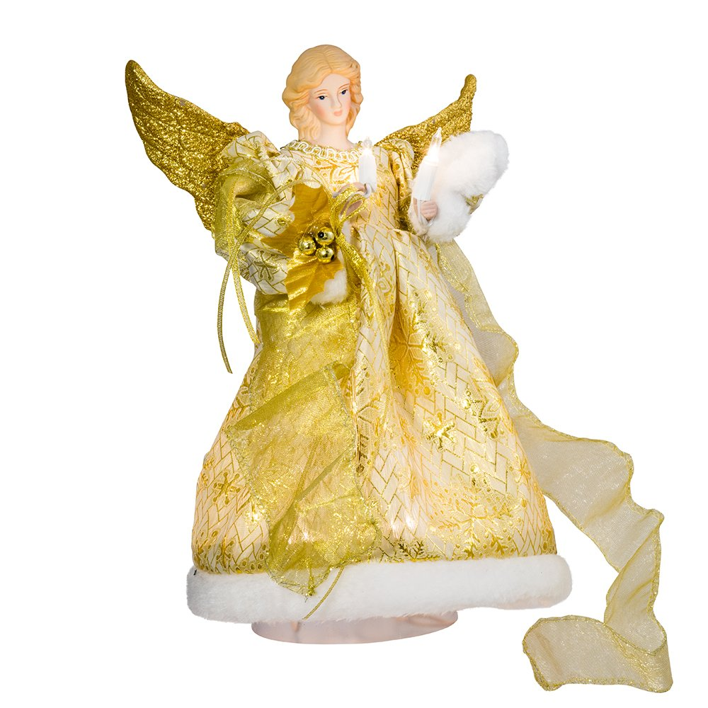 Kurt Adler UL 10-Light 12-Inch Gold Dress Angel Treetop