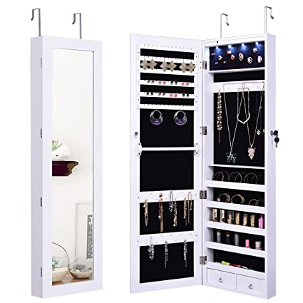 Amazoncom Giantex Wall Door Mounted Jewelry Armoire Organizer with