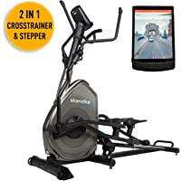 SKANDIKA Carbon Advance-Vélo elliptique-Inertie 22 Kg-16 Niveaux de résistance-Max. 130 Kg-12 Programmes-iConsole avec Commande par Application Smartphone Mixte, Noir