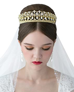 Sweetv Royal Pearl Tiara Vintage Rhinestone Crown Bridal Jewelry