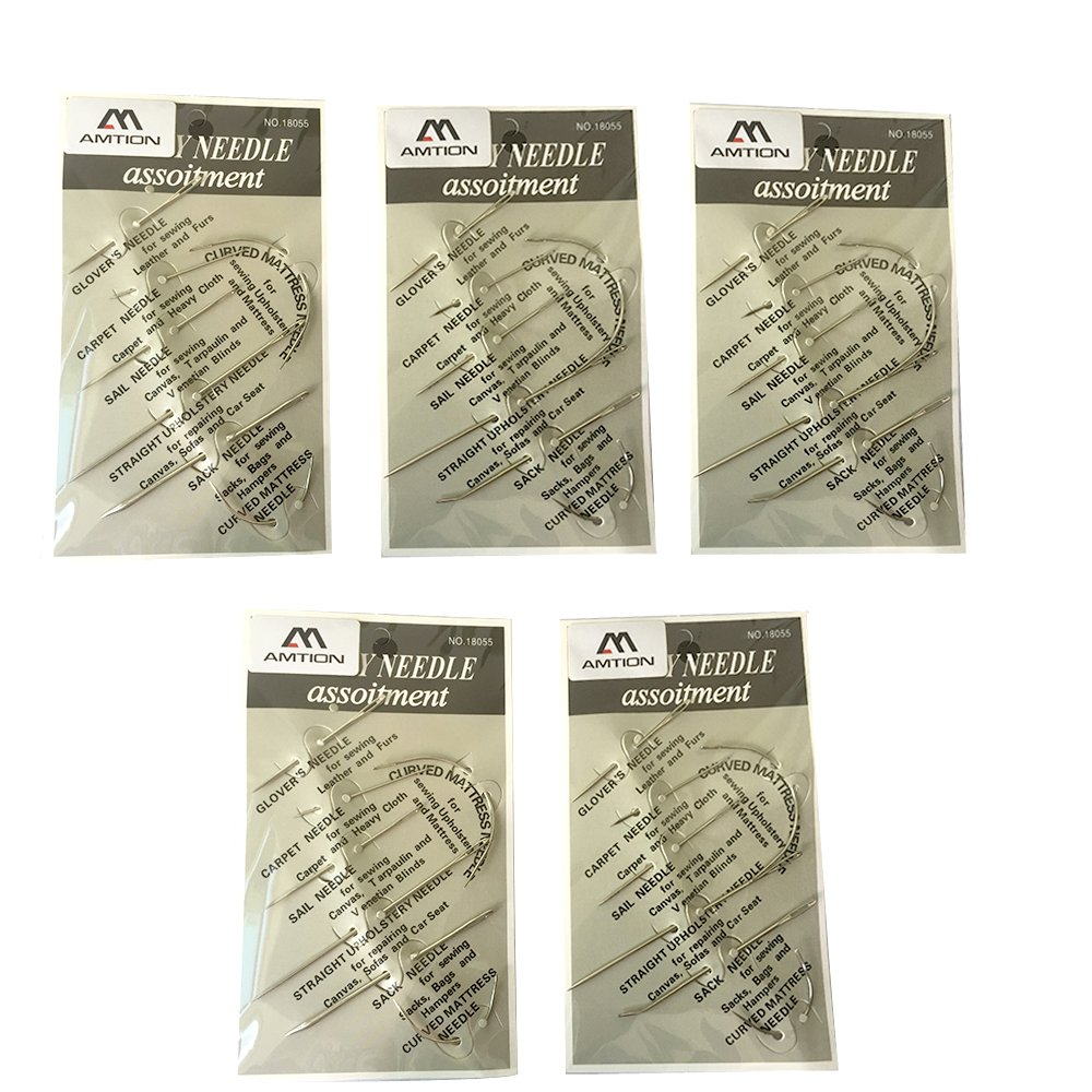 A Trust Leather Needle Tool Upholstery Sail Carpet Canvas Repair Curved Hand Sewing Needles Kit 5 Pack by A Trust