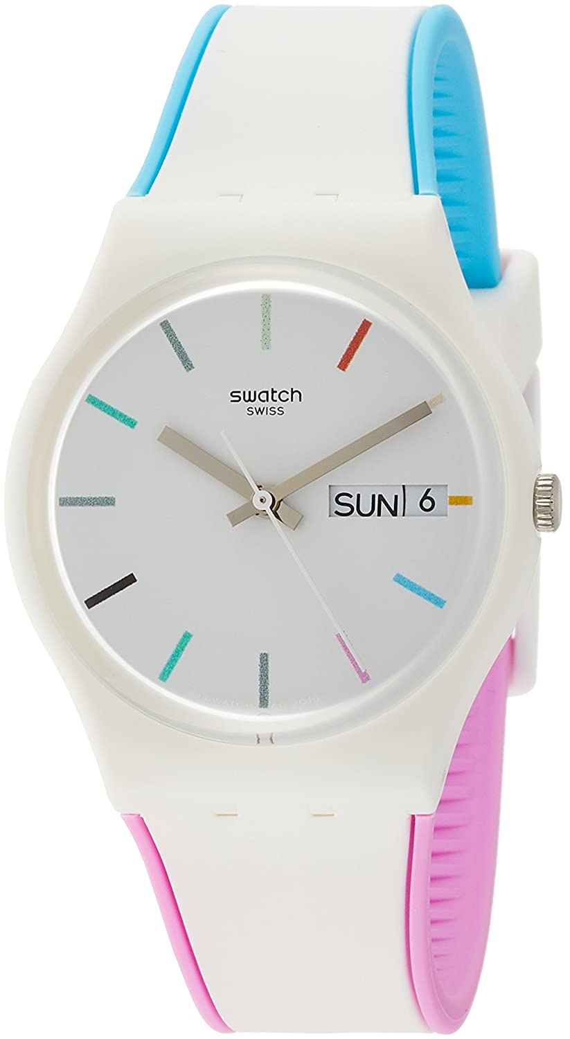 Amazon.com: Swatch Originals Edgyline White Dial Silicone Strap Ladies Watch GW708: Watches