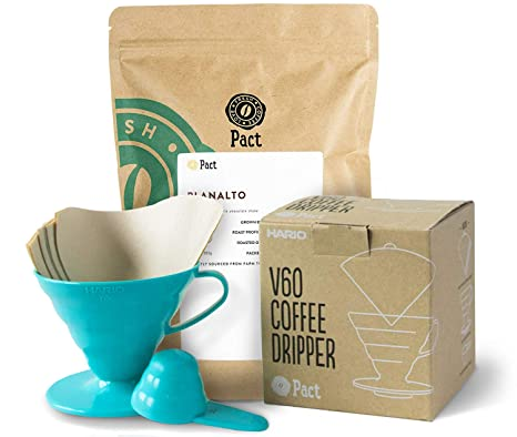 Pact Coffee Starter Kit 500g Freshly Roasted And Ground Speciality Coffee From Brazil Hario V60 Teal Coffee Dripper Size 02 40 Coffee Filter