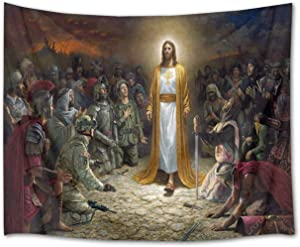 LB Christmas Jesus Christ Tapestry Wall Hanging Jesus Preached Scene 3D Watercolor Tapestry Wall Blanket Wall Art Wall Decor Christian Tapestry for Bedroom Living Room Dorm,80 x 60 Inches