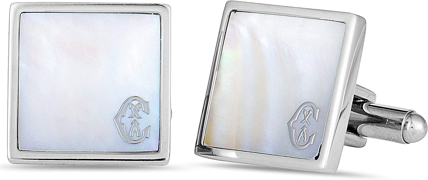 CHARRIOL Classic Stainless Steel, White Mother of Pearl Square Cufflinks