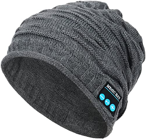 Wireless Bluetooth Beanie,Unisex Outdoor Sport Knit Hat with Stereo Speakers Microphone