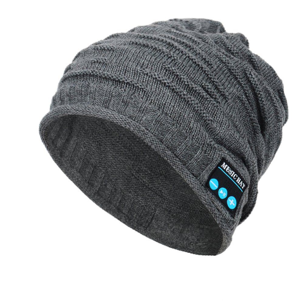 Wireless Bluetooth Beanie, Unisex Outdoor Sport Knit Hat with Stereo Speakers & Microphone
