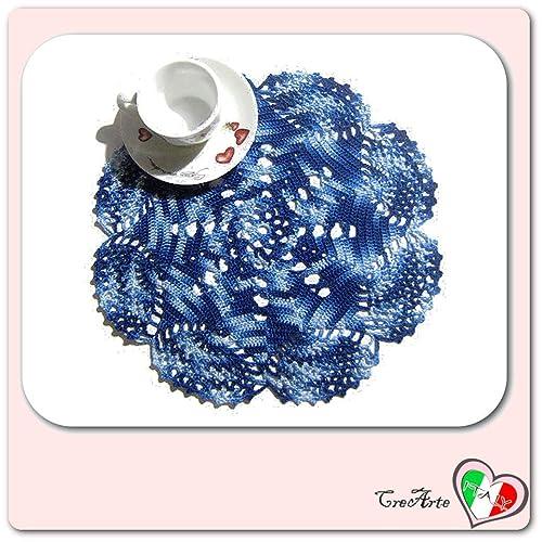 Tapete azul de ganchillo en algodón - Tamaño: ø 27 cm ...