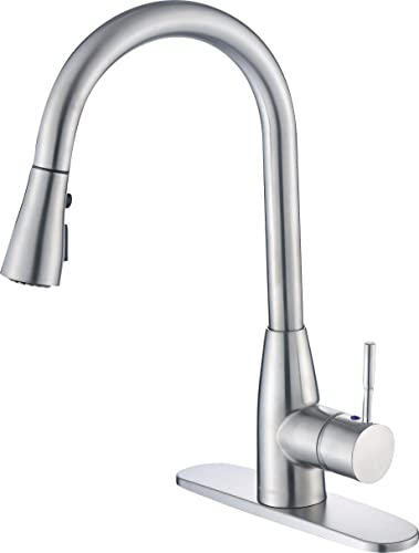 HONGKEN Kitchen Sink Faucet with Single Handle Brushed Nickel Pull-Down Sprayer