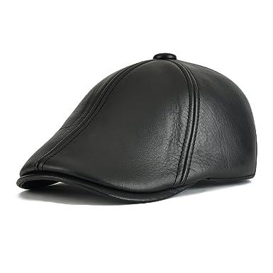 33cb601b60470 Flat Cap Cabby Hat Genuine Leather Vintage Newsboy Cap Ivy Driving Cap  MZ177 (Tag Size