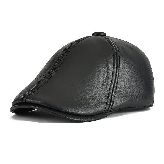 f728fb2fb0c Flat Cap Cabby Hat Genuine Leather Vintage Newsboy Cap Ivy Driving Cap  MZ177 (Tag Size